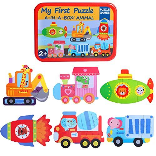 Fcostume 6 in 1 Tierkarikatur-hölzernes Verkehrspuzzle Lernspielzeug für die frühe Kindheit (D)