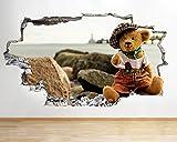 D466oso boina sombrero playa Smashed adhesivo pared 3d arte pegatinas vinilo habitación