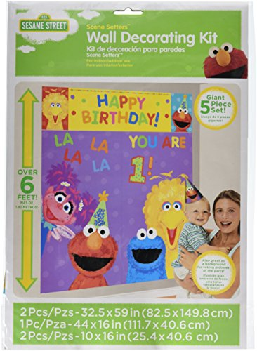Sesame Street 1st Birthday Scene Setter Wall Decorations by Discount Party Supplies and (Supplies Sesame Birthday Street Party)