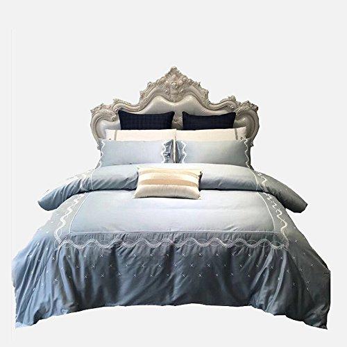 WMWN Luxuriös Anzüge, einschließlich Bettbezüge, Kissenbezüge und Bettwäsche, 100% Baumwolle, Super seidig und weich, 1Bettbezug, 1Bett, 2Kissenbezügen, ohne Quilt, 6ft(1.8m) (Mikrofaser-satin-anzug)
