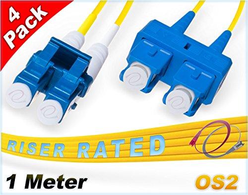 Multipack OS2 LC SC Glasfaserkabel, 9/125 Duplex Singlemode, 1 m 4 Pack 4 Stück -