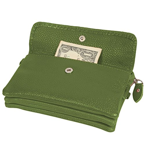 Kilofly pochette borsetta da polso donna morbido in pelle + Kilofly Money clip Green