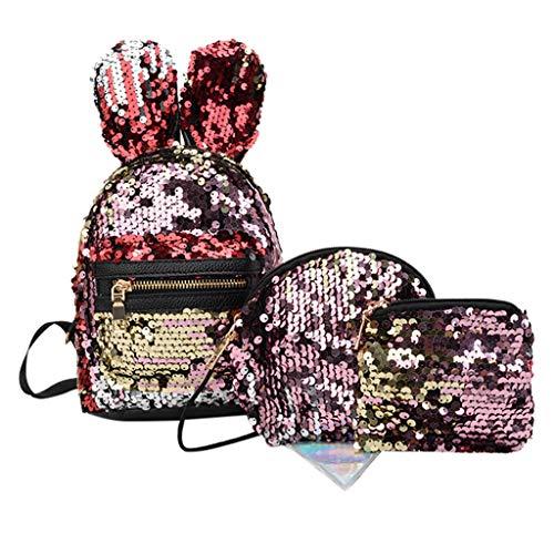 Time Cover 3Pcs Student Kinder Schultasche Rucksäcke Umhängetasche Federbeutel Clutch Kinderrucksack Süße Minitasche für Handy, Kosmetik, Papiertuch (rot)