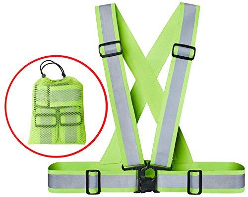 Xcelenze - Premium Warnweste / Reflektorweste / Sicherheitsweste elastisch, größenverstellbar und extra breiter Gurt für mehr Sichtbarkeit beim Joggen, Fahrrad und Motorrad fahren + Tasche