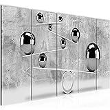 Bilder 3D Kugeln Wandbild 200 x 80 cm Vlies - Leinwand Bild XXL Format Wandbilder Wohnzimmer Wohnung Deko Kunstdrucke Grau 5 Teilig - MADE IN GERMANY - Fertig zum Aufhängen 504355b