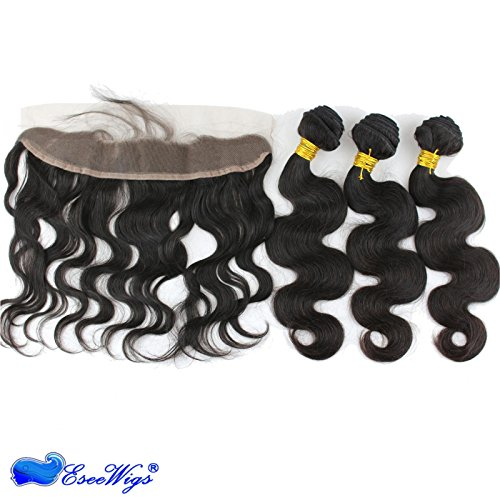 Eseewigs Beste Brasilianische Reine Haarspitze Frontal Verschluss mit 3 Bundles Haarwebart Körperwelle Remy Menschenhaar Natürliche Farbe