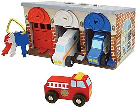 Melissa & Doug - 14580 - Rettungsdienst-Garage mit Schloss