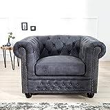 CAGÜ - Edler DESIGNKLASSIKER Sessel [Winchester] GRAU aus Kunstleder im KLASSISCH ENGLISCHEN Chesterfield-Stil