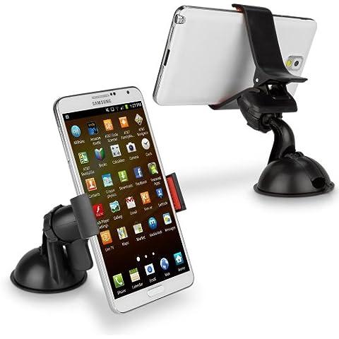 Motorola RAZR V3c BoxWave HandiGrip soporte de coche - Motorola RAZR V3c de coche con ventosa soporte, totalmente ajustable, 360 Degree giratorio de mordaza con ventosa para luna de soporte de coche para Smartphones (negro)