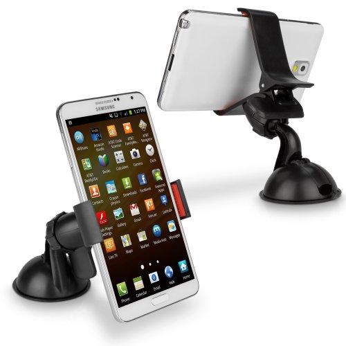 BoxWave Handigrip Verizon Palm Centro Smartphone KFZ-Halterung-VERIZON Palm Centro Auto-Halterung für Windschutzscheibe und Armaturenbrett, Windschutzscheibe, 360° drehbar-KFZ-Halterung für Smartphones, Schwarz (Smartphones Verizon Von)