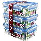 Emsa 508558 Lot de 3 boîtes alimentaires, 1 Litre, Transparent/bleu, Clip & Close