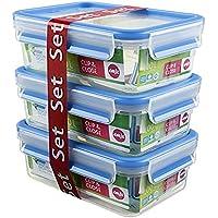 Emsa Clip&Close - Set de 3 Conservadores Herméticos de Plástico Rectangular de 0,55L, higiénico, no retiene olores ni sabores 100% libre de BPA