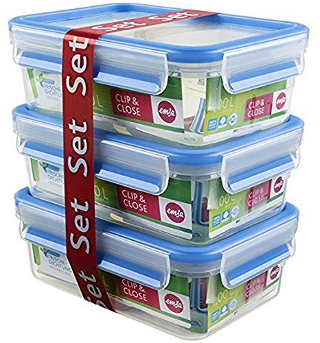 Emsa 508558 Food Clip & Close,Plastik, Transparent / Blau 1 Liter, Set mit 3 Boxen