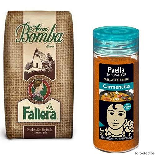 500gr Original spanischer Paella Bomba Reis + Paella Gewürz von Carmencita (65g) für traditionelle Paella