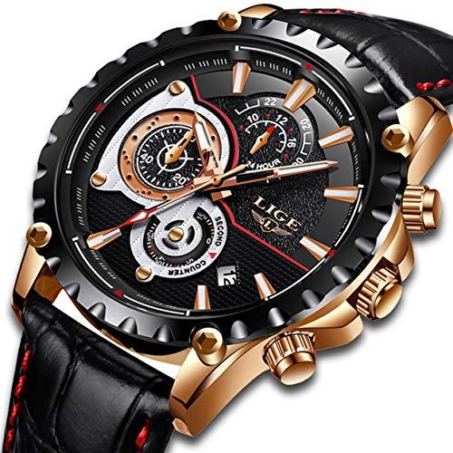(Herren Uhren Wasserdicht Chronograph Sport Analog Quarzuhr Männer Luxusmarke LIGE Mode Lässig Schwarz Leder Armbanduhr Mann Uhr Neu)