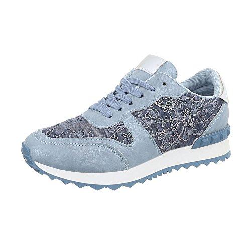 Ital-Design Sneakers Low Damen-Schuhe Sneakers Low Sneakers Schnürsenkel Freizeitschuhe Hellblau, Gr 40, G-98- (Sneaker Design)