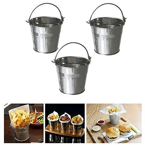 vinallo 3PCS Mini analoge Metall Eimer Zuckerguss Pommes Frites Dose Blecheimer für Home Office shcool