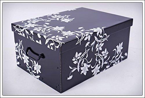 3er Set Aufbewahrungsbox in 3 Farben (weiß, schwarz und grau) mit jeweils 45 Liter Inhalt - Blumenmuster im Barock Stil - 3