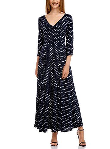 oodji Ultra Femme Robe Longue Boutonnée Bleu (7510D)