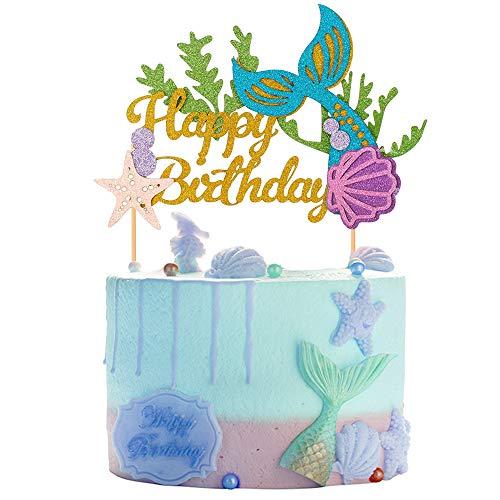 1 Set Glitzer Meerjungfrauenschwanz Themed Happy Birthday Cake Topper Cake Picks Dekoration für Babyparty Geburtstag Party Gastgeschenke