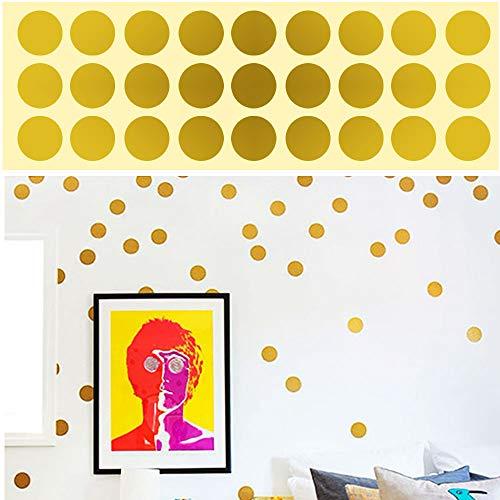 ETSAMOR 216 unids Polka Dot Círculos Pegatinas de pared de oro redondo vinilo Lunares Pegatinas de pared Efecto Puntos metálicos para la decoración del dormitorio Kids Party Supplies Cumpleaños