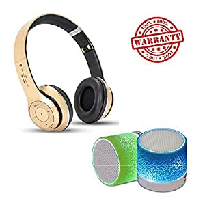 MacBerry Lenovo K4 Note Compatible Stereo Handsfree bluetooth Headphones & Mini Light speaker (Assorted Color)