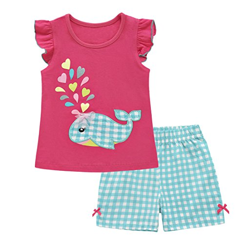 ChicNChic Toddler Baby Girls Summer Clothes Whale Print Top with Plaid Shorts Outfits Set