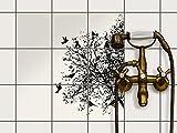 Fliesen zum Aufkleben | Klebe-Fliesenaufkleber Küchenfliesen Bad-Folie Wanddeko | 15x15 cm Design Motiv Tree and Birds 2 - 9 Stück