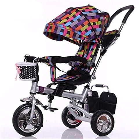 Enfant Intérieur Extérieur Petit Tricycle Bicyclette Bicyclette à vélo pour fille de 8 mois - 6 ans Bébé Trois roues Chariot à auvent, mousse / siège tournant / amorti / pliable, coloré