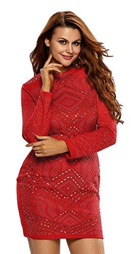 La Vogue Femme Robe Courte Manche Longue Strass Ajourée Soirée Rouge