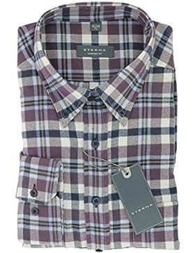 ETERNA Herren Flanell Hemd aus 100% Baumwolle langarm mit Button-Down Kragen Comfort Fit Gr. M 39/40 beere/blau...