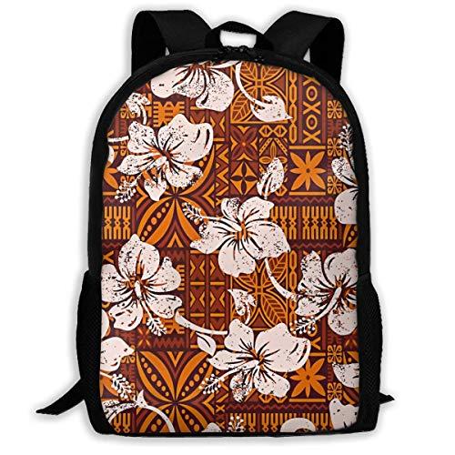 Schulrucksack Stammes- Vintage hawaiische Hibiskus-Blumen Rucksack wasserdichte Schultaschen Durable Travel Camping Rucksäcke für Jungen und Mädchen -