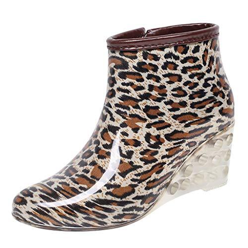 SoonerQuicker Unisex-Erwachsene Boots Damen mode Leopardenmuster Wedges Short Tube Regen Stiefel Wasserdichter Wasserschuh Khaki 38