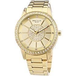 Mike Ellis New York Women's Quartz Watch with Gold Dial Analogue Display and Stainless steel gold-coloured - M3094/1