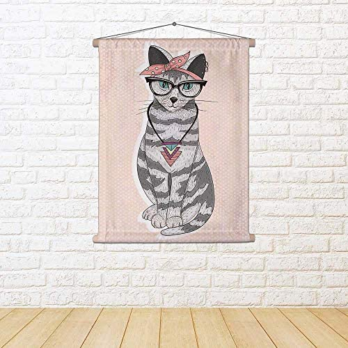 ArtzFolio Cute Hipster Rockabilly Cat Satin Painting Tapestry 30 Wall Hanging 30 Tapestry X 37.5Inch 2b573b