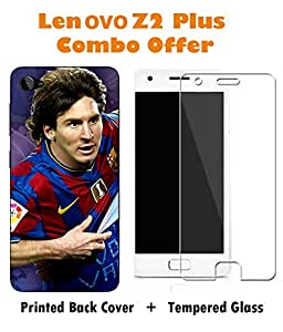 Lenovo Z2 Plus Messi Printed Colorful Hard Back Cover with Premium Tempered Glass Combo By Make My Print