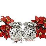 2x Weiß Silber mit Deko Ananas aus Keramik Teelicht Kerzenhalter Ornaments