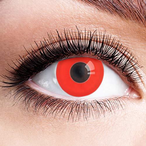 Farbige Kontaktlinsen Rot Ohne Stärke mit Motiv Linsen Halloween Karneval Fasching Cosplay Kostüm Red Eyes Rote Augen Vampir Volturi Twilight Devil Dämon