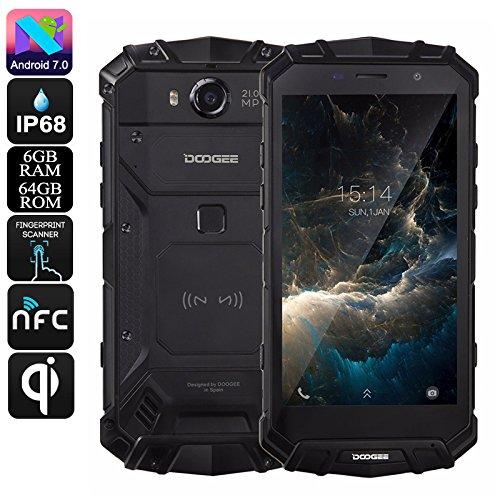 DOOGEE S60 - 5.2 pollici FHD impermeabile / antiurto / antiurto 4G Smartphone, 5580mAh batteria 12V2A carica rapida (supporto di carica wireless), Helio P25 2.5GHz Octa Core 6GB 64GB, 21.0MP Fotocamera NFC GPS metallo - Nero