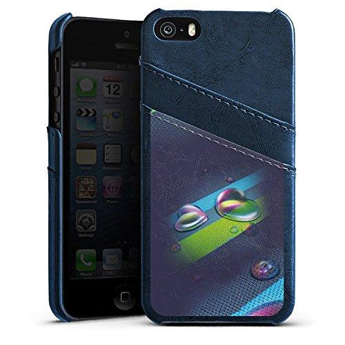 Apple iPhone 4 Housse étui coque protection Amour Amour C½ur Étui en cuir bleu marine
