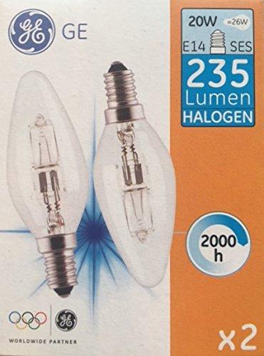 GE Bougie 20 W (= 26 W) SES E14 halogène ECO Saver ampoules [Lot de 2] Petit culot Edison à vis compatibles variateur d'intensité Lampes, 235 Lumen, 240 V