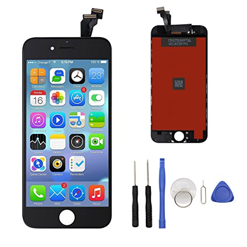 Iphone6-screen-ersatz (Display für iPhone 6 Bildschirm Ersatzset für iPhone 6 Lcd Touchscreen Digitizer Frame-Montage (freies Tool Kit) 4,7 (Schwarz))