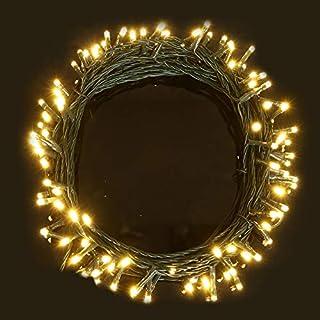 Lichterketten 100 LED Warmweiß Lichterketten 11 Meter - Batteriebetrieben LED Lichterketten - ideal für Weihnachten, festlich, Hochzeit / Geburtstag Dekorationen LED-Schnur-lichterkette- Grün-Kabel