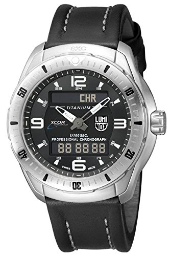 Luminox Men's 'SXC/XCOR Pilot Pro' Swiss Quartz Titanium and Leather Aviator Watch, Color:Black (Model: 5241)