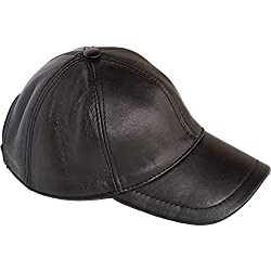 Dazoriginal Gorra Béisbol de cuero, Gorra de Béisbol, sombrero cuero, Gorra de Cuero, Cap, Cuero hombre, el gorro, gorro con viseragorras, Sombrero de deporte, (Negro / Black Leather Baseball Cap)