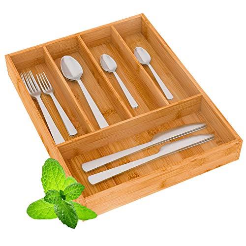 Besteckkasten Besteckeinsatz Schubladeneinsatz Besteckhalter 26x35x5cm(BLH) - für Küche schubladen aus Bambus