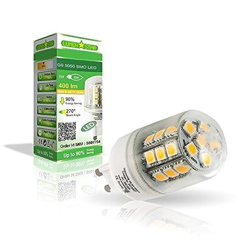 LumenStar® LED G9 Lampe 5 Watt - 400lm, 3000K warmweiß, 270° Abstrahlwinkel, ersetzt mit 50W - Biella