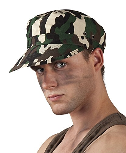 Jungen Totenkopf Soldat Kostüme (Halloweenia - Karnevalsaccessoire - Mütze in Tarnfleck, Soldat,)