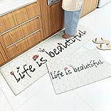 AZUO 3 Stück Zum Verkauf Haushalts Leder Teppich Marmorierung Küchen Streifen Wasserdicht Rutschfeste Ermüdungs Matte Fußkissen,A,S