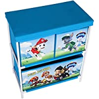 Paw Patrol Kids Toy Storage Unit 2 3 Tier, 3 Drawer Organisers Boys Blue/Red Fabric Storage Solution Furniture, Childrens Baskets/Bins Playroom, Bedroom, Living Room